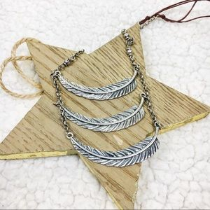 Tiered Feather Dainty Long Necklace